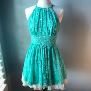 sea green a-line lace overlay dress